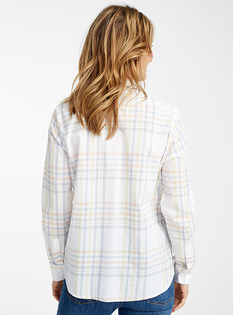 Contemporaine Patterned White Organic cotton check shirt for women