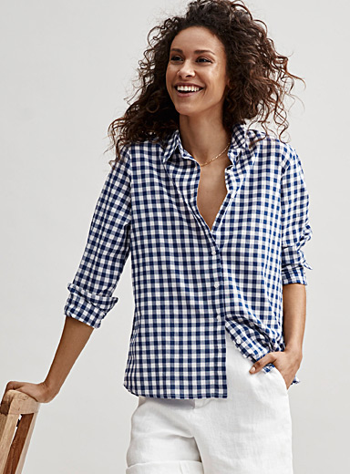 Contemporaine Patterned Blue Organic cotton check shirt for women