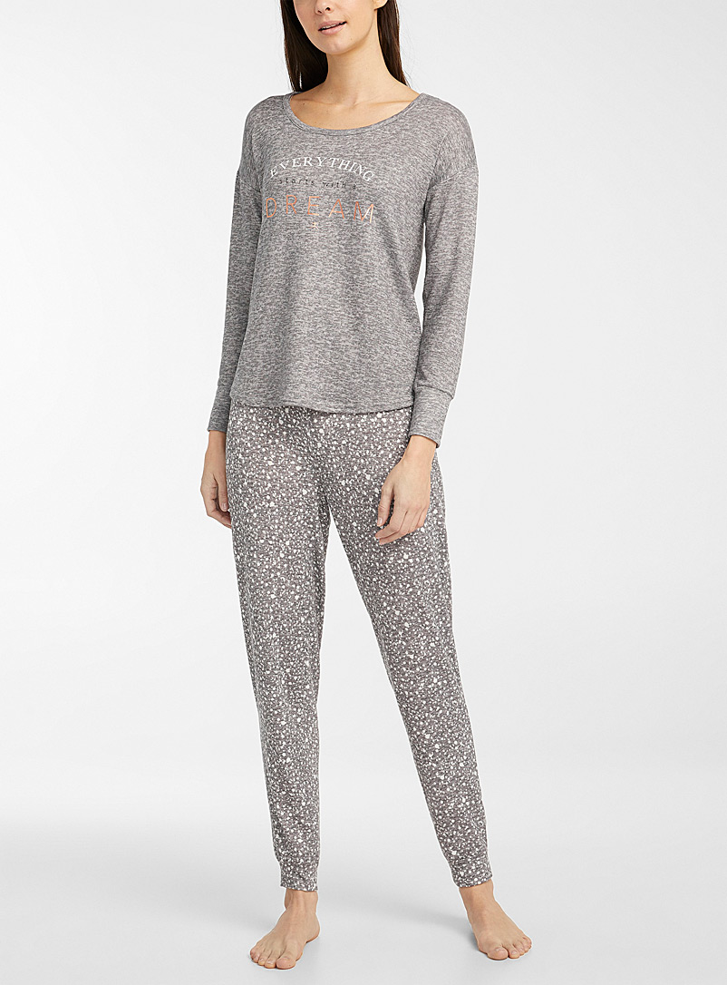 Miiyu Patterned Grey Spotted message pyjama set for women