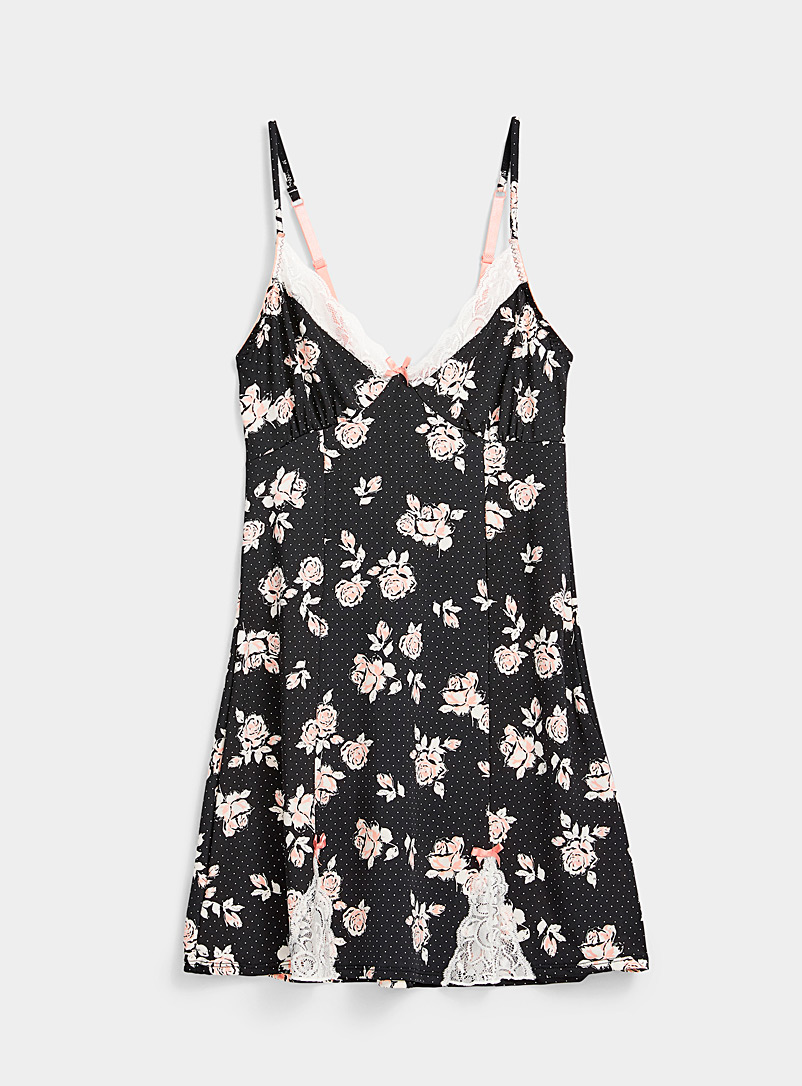 Miiyu Patterned Black Flower and dot nightie for women