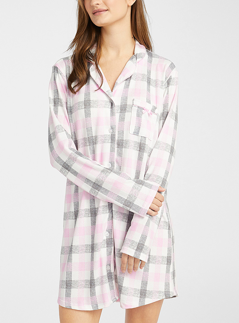 Miiyu Patterned White Pink check nightshirt for women