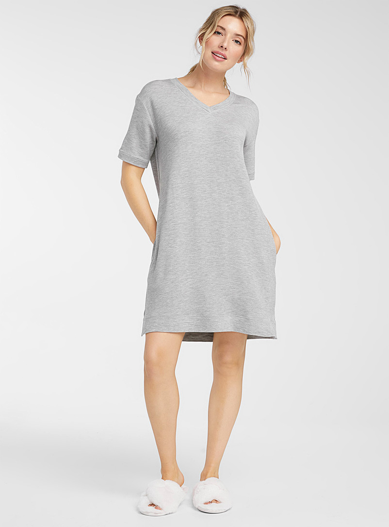 Miiyu Grey Terry-lined nightgown for women