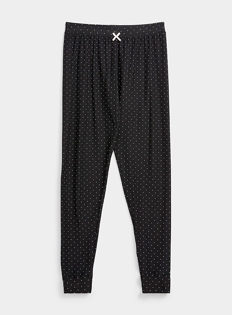 Miiyu Patterned Black Micro-pattern lounge joggers for women