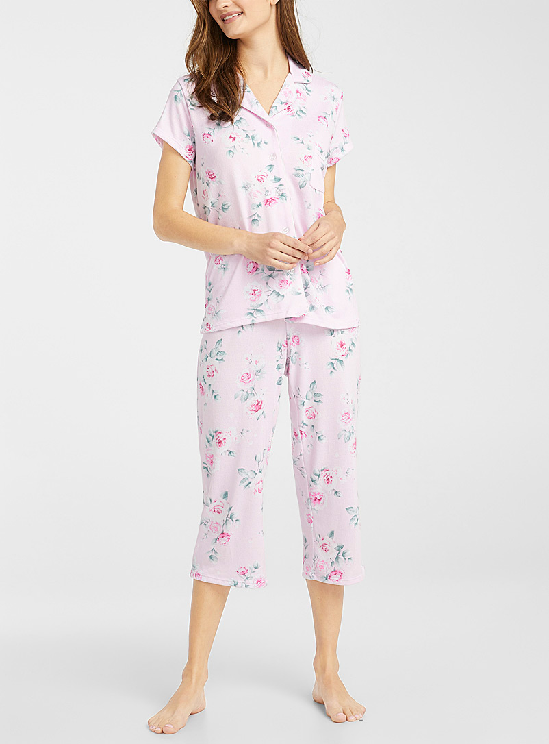 Miiyu Dusky Pink Cropped trimmed pyjama set for women