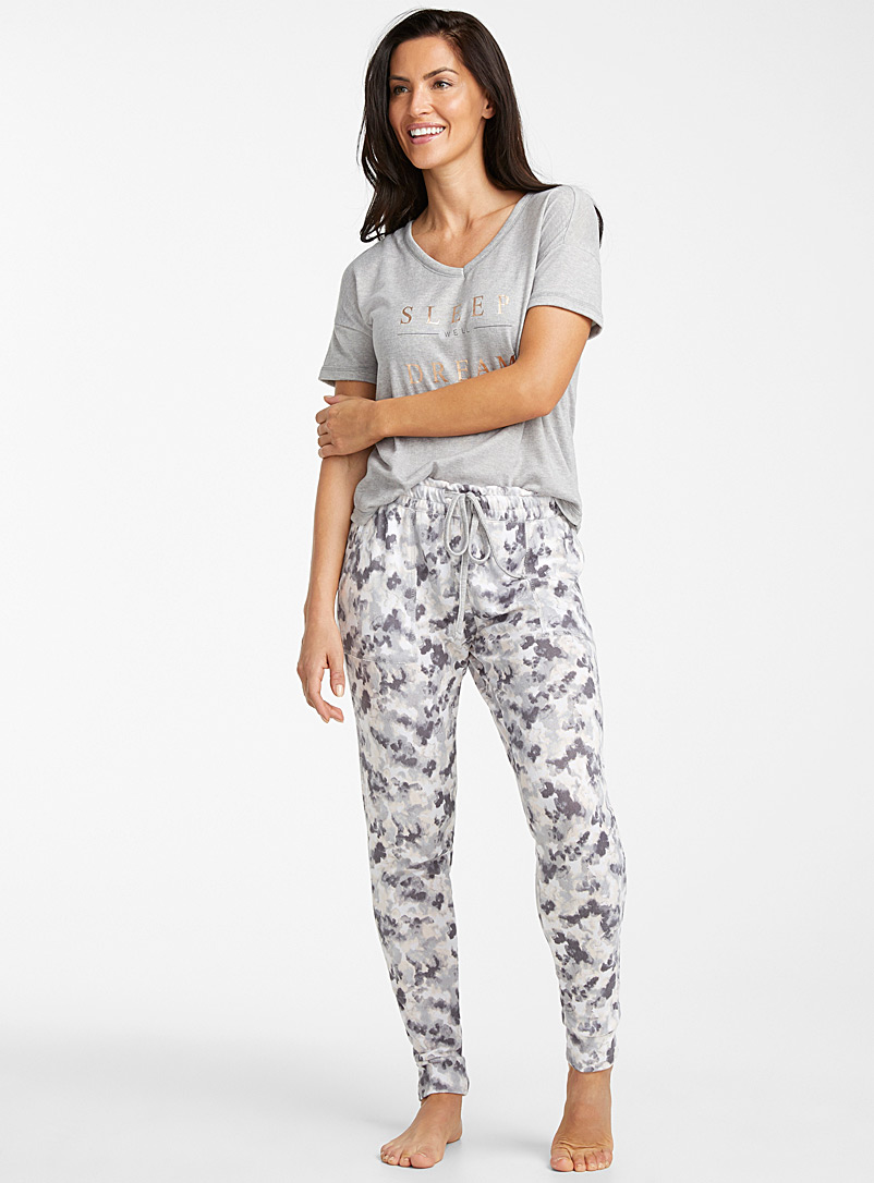 Danskin Light Grey Golden message pyjama set for women
