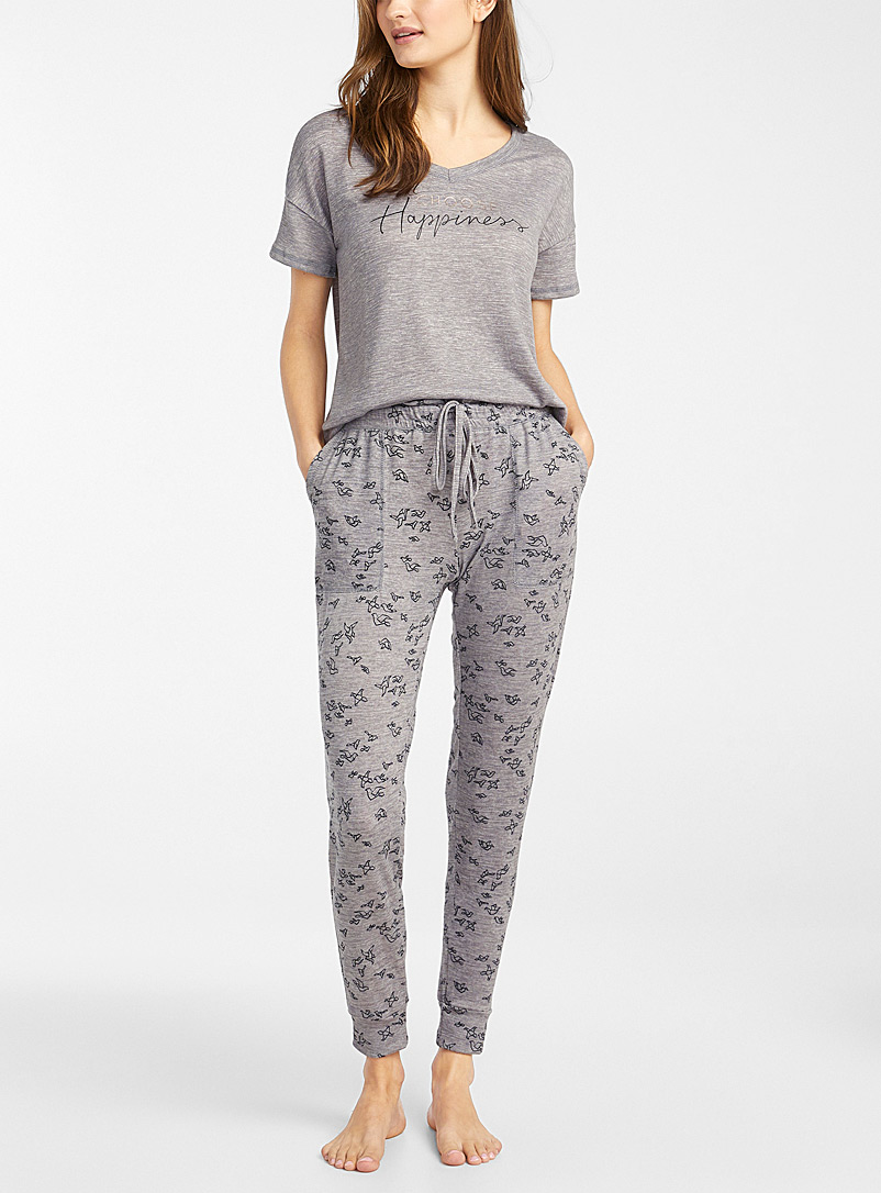 Miiyu Patterned Grey Golden message pyjama set for women