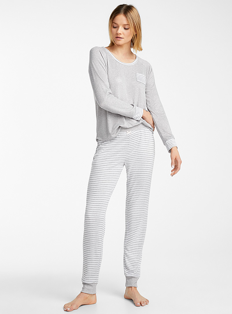 Miiyu Light Grey Striped grey pyjama set for women