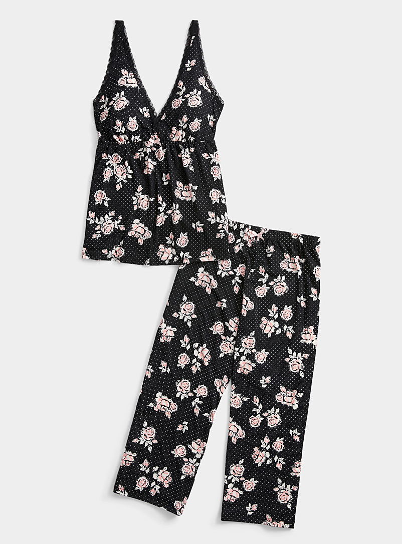 Miiyu Patterned Black Flower and dot pyjama set for women