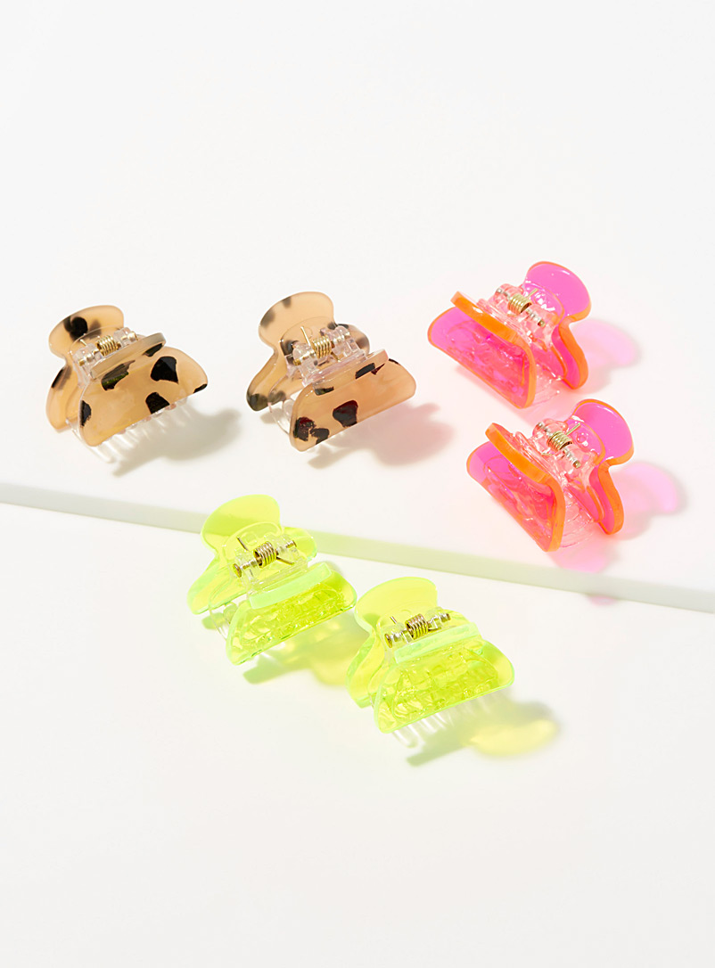 Simons Assorted Mini neon and spotted clips  Set of 3 for women