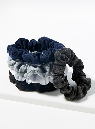 Simons Assorted blue  Solid jersey scrunchies  Set of 5 for women