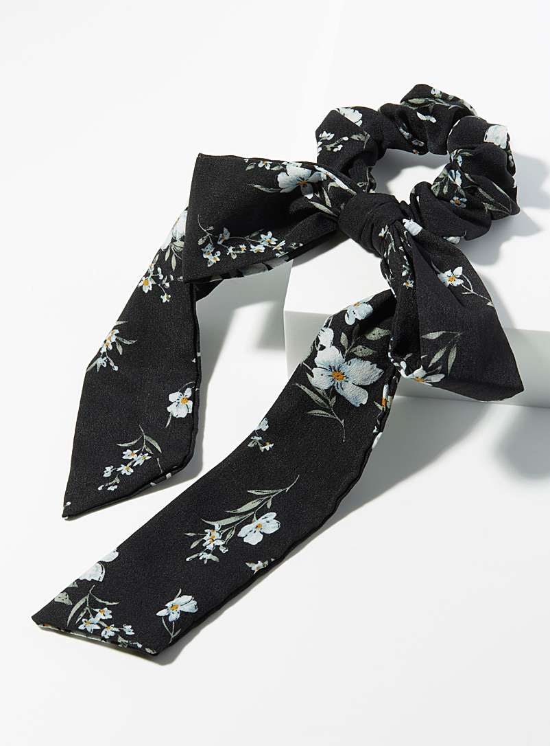 White flower scarf scrunchie - Scrunchies - Patterned Black
