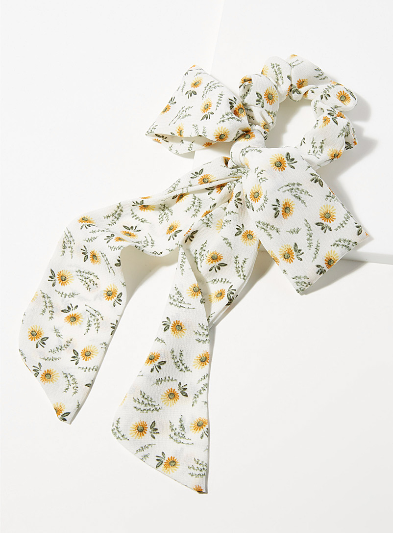 Simons Patterned White Sunflower scarf scrunchie for women