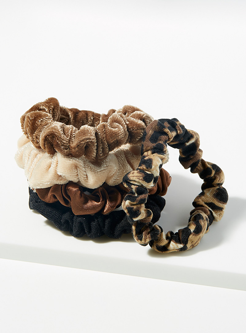 Simons Patterned Brown Satin and velvet scrunchies  Set of 5 for women