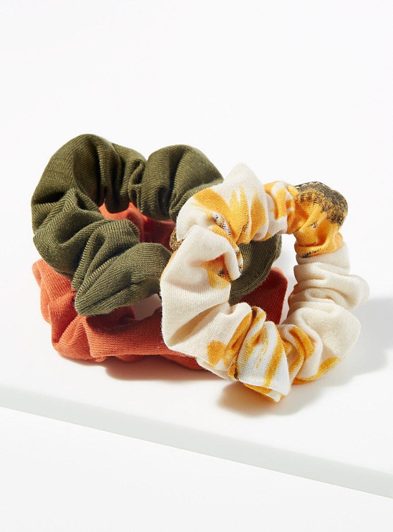 Simons Assorted Colourful and floral scrunchies  Set of 3 for women