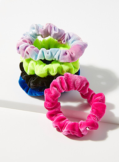 Small bright velvet scrunchies  Set of 5