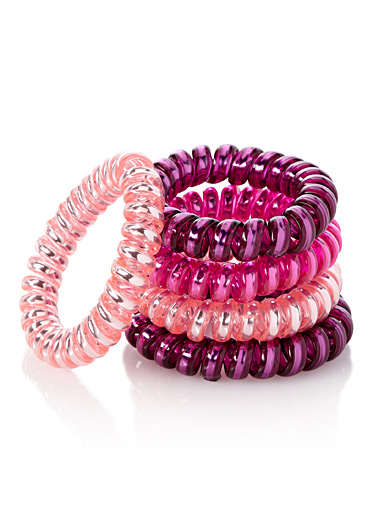 Pink telephone-cord elastics  Set of 5