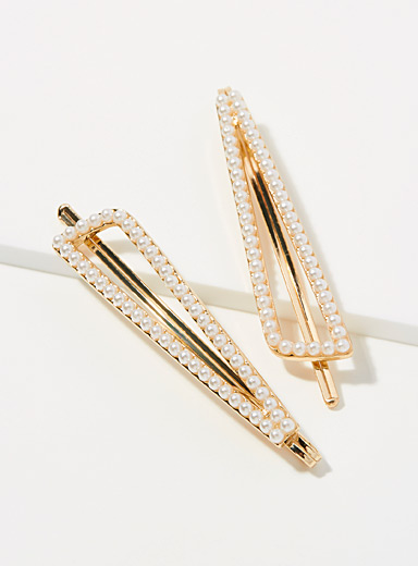 Simons Assorted Pearly clips  Set of 2 for women
