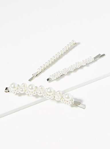Retro pearly bead clips  Set of 3