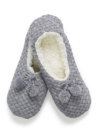 Basketweave ballerina slippers