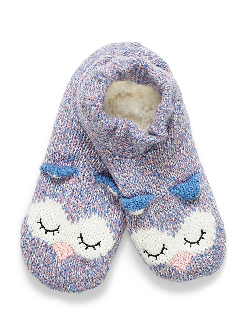 Sleeping owl slippers - Slippers - Patterned Blue
