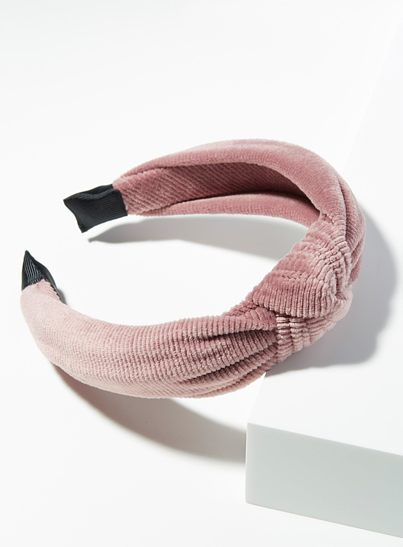 Simons Pink Corduroy knotted headband for women