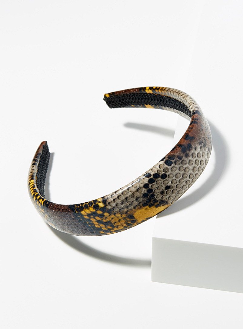 Simons Assorted brown Python-like headband for women
