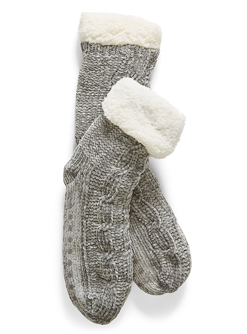 Chenille knit sock slippers - Slippers - Grey