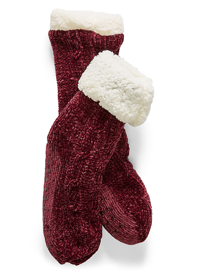 Chenille knit sock slippers - Slippers - Ruby Red