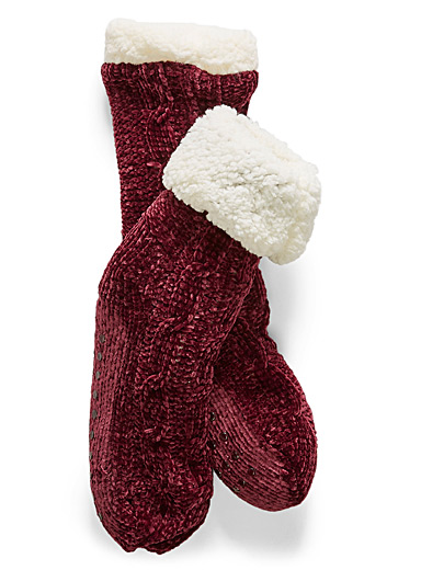 Chenille knit sock slippers