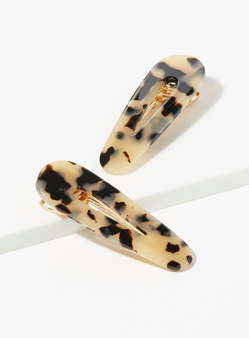 Metallic tortoiseshell clips  Set of 2 - Barrettes and Clips - Ivory White