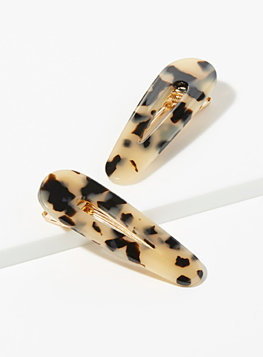 Metallic tortoiseshell clips  Set of 2