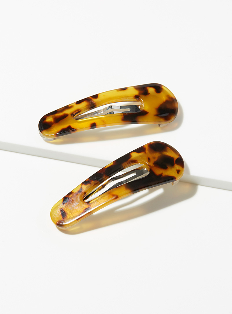 Amber tortoiseshell barrettes  Set of 2 - Barrettes and Clips - Brown