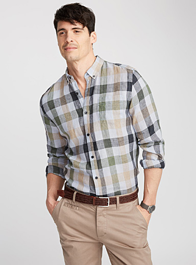 Premium linen check shirt  Semi-tailored fit