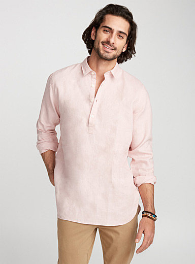 Premium linen half-buttoned shirt  Semi-tailored fit