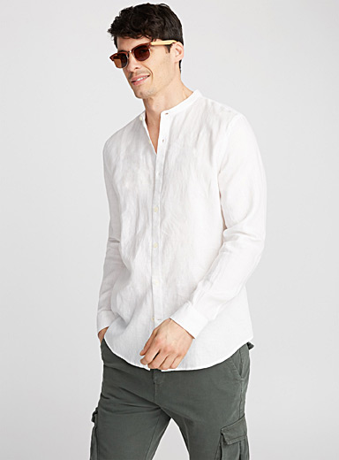 Officer collar Premium linen shirt  Semi-tailored fit