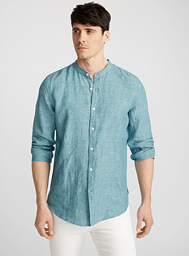 Officer-collar premium linen shirt  Semi-tailored fit