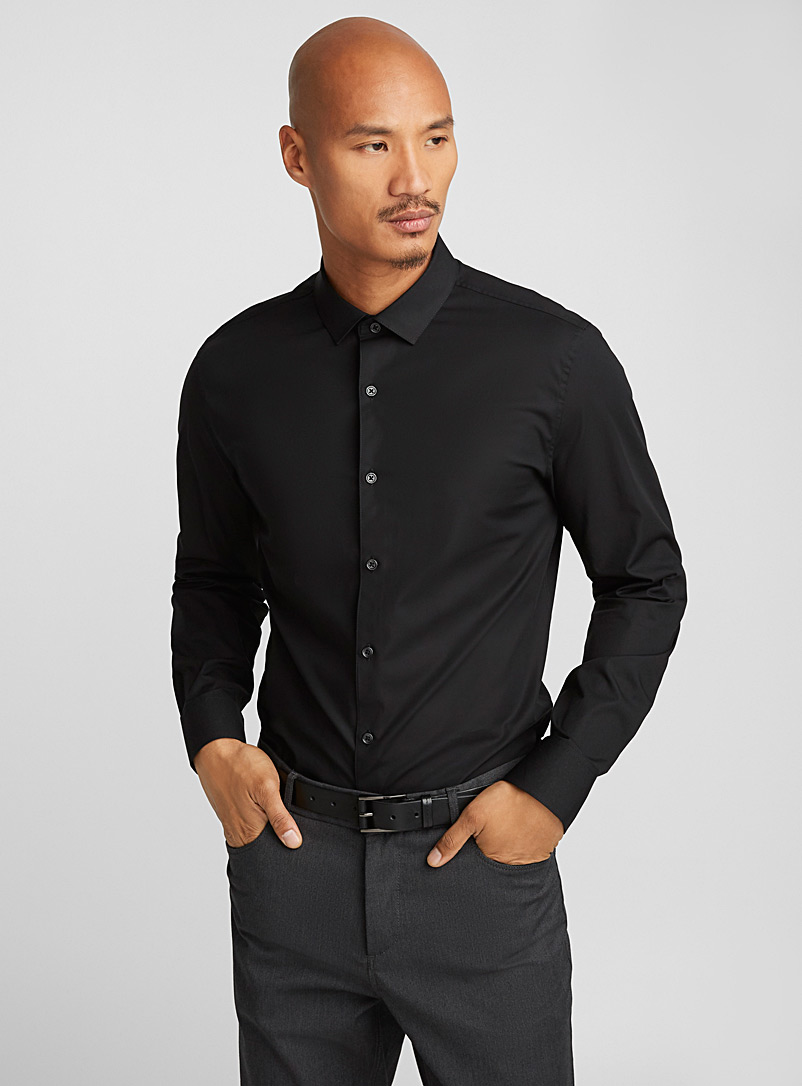 Stretch solid shirt  Semi-tailored fit - Solid - Black