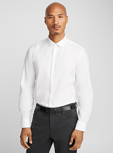 Le 31 White Stretch solid shirt  Modern fit for men