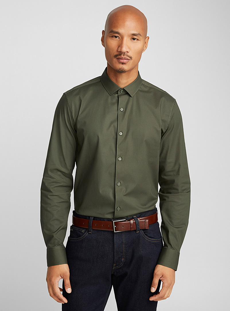 Stretch solid shirt  Semi-tailored fit - Solid - Khaki