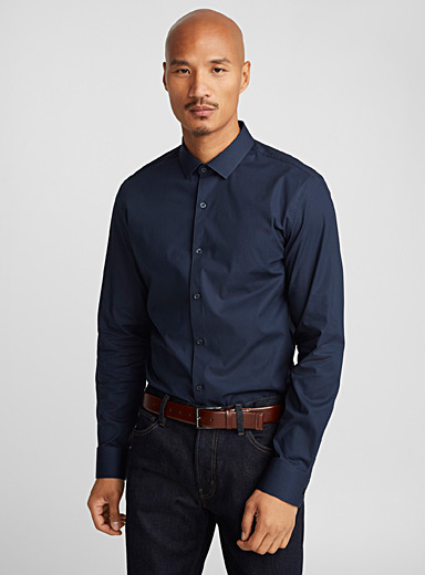 Stretch solid shirt  Semi-tailored fit