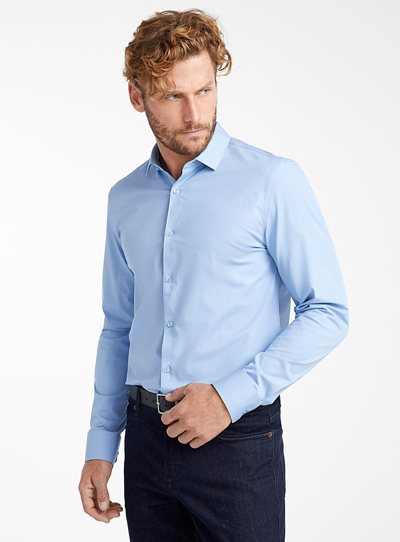 Stretch solid shirt  Semi-tailored fit - Solid - Baby Blue
