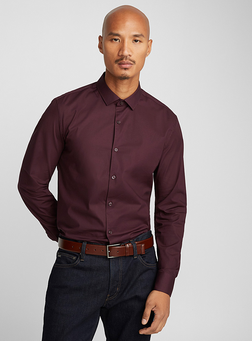 Stretch solid shirt  Semi-tailored fit - Solid - Mauve