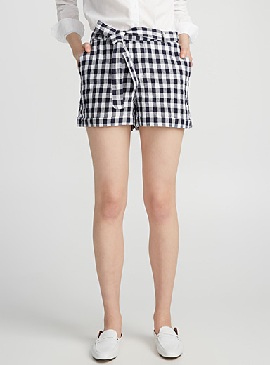 Tie-belt pure linen short