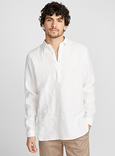 Premium linen half-buttoned tunic <br>Modern fit