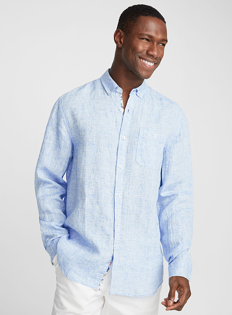 Chambray premium linen shirt  Comfort fit - Pure Linen - Baby Blue