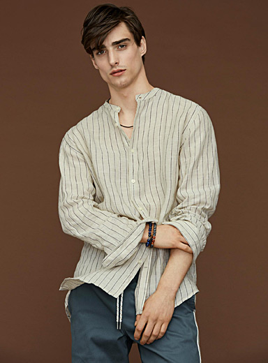Natural stripe premium linen shirt <br>Modern fit