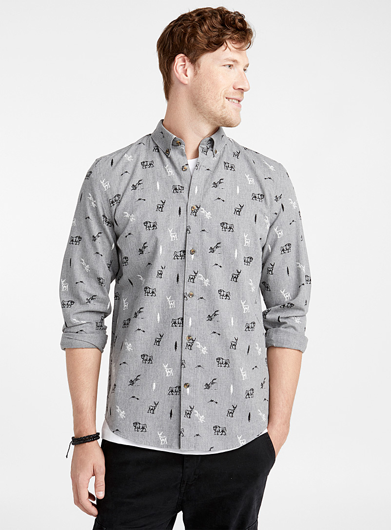 Le 31 Grey Call of the mountain shirt  Modern fit for men