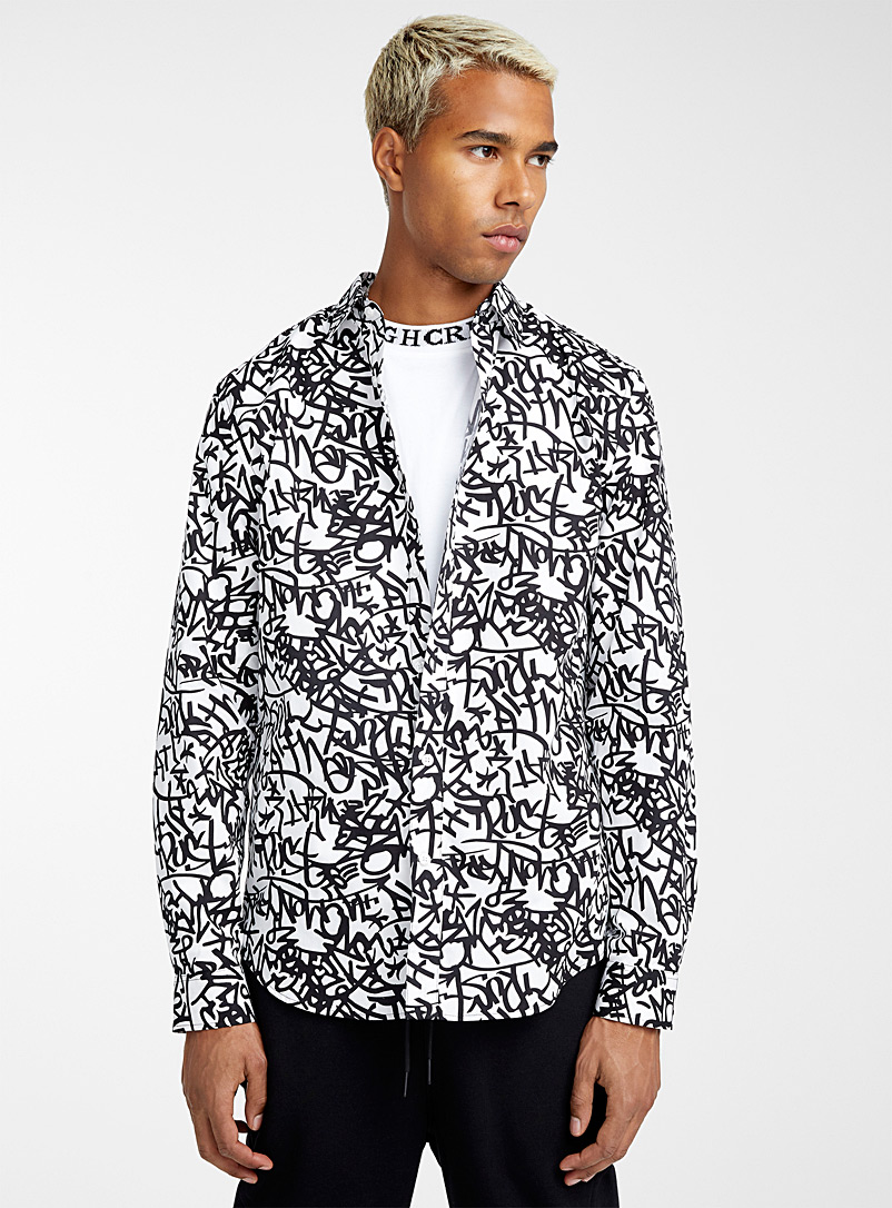 Urban-print organic cotton shirt - Long sleeves - Black and White