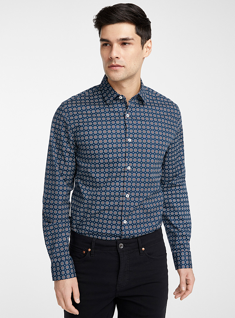 Le 31 Blue Organic cotton medallion shirt  Modern fit for men