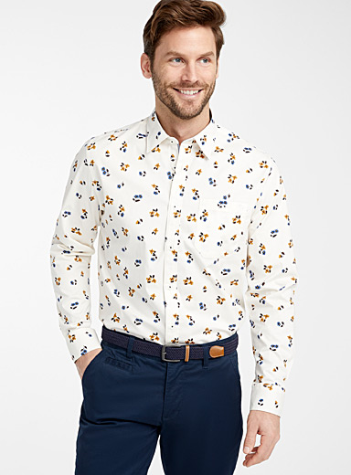 Le 31 Patterned Ecru Organic cotton floral shirt  Modern fit for men